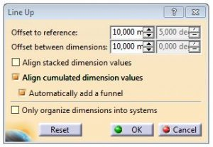 How to line-up dimensions in CATIA V5